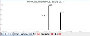 原儿茶醛的二级质谱图