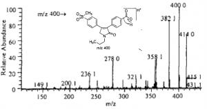 MS2 of 艾瑞昔布羧基代谢物